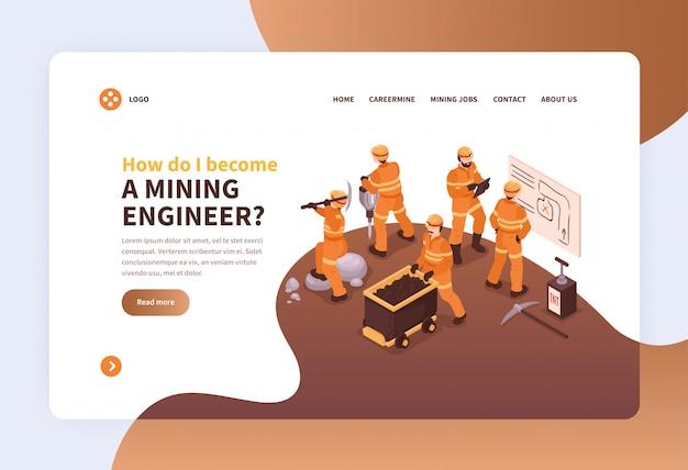 Il mio concetto di progetto della pagina web di atterraggio con le immagini dei minatori nell'illustrazione uniforme e cliccabile di collegamenti Vettore gratuito