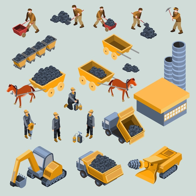 Mine, quarry workers and machines isometric vector Free Vector