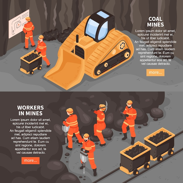 Mine set of two horizontal banners with more button editable text and images of mining machinery  illustration Free Vector