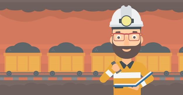 Miner checking documents. Premium Vector