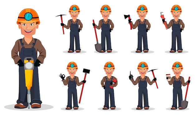 Miner man, mining worker, set of nine poses Premium Vector