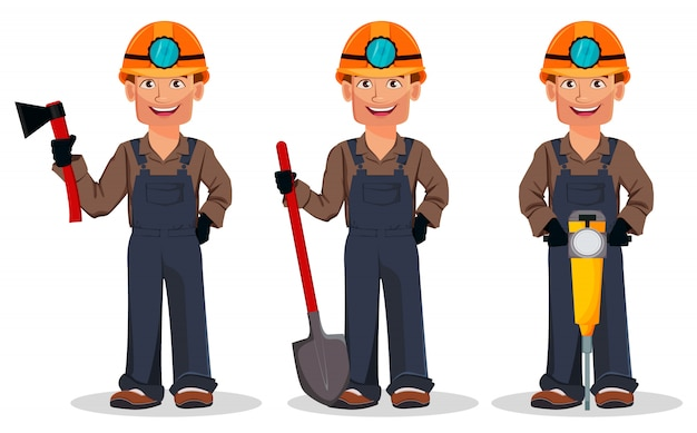 Miner man, mining worker, set Premium Vector