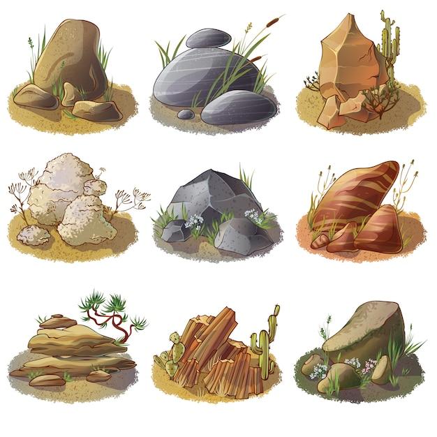 Collezione di pietre minerali su terra Vettore gratuito