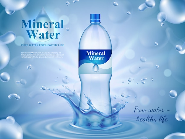 Mineral water advertising composition with bottled water symbols Free Vector