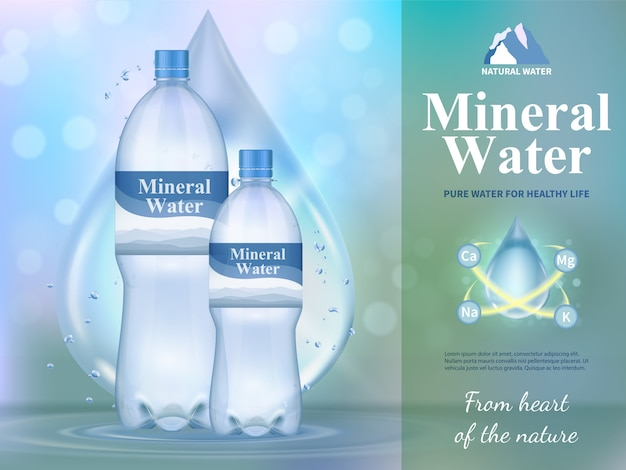 Mineral water composition with healthy life symbols Free Vector