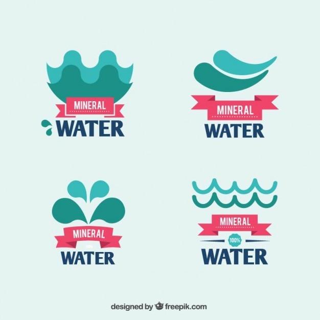 Mineral water logos Premium Vector