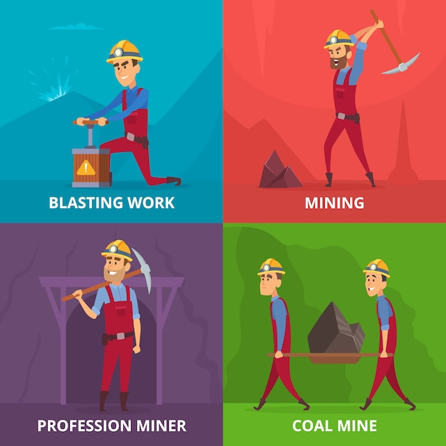 Miners characters at work Premium Vector