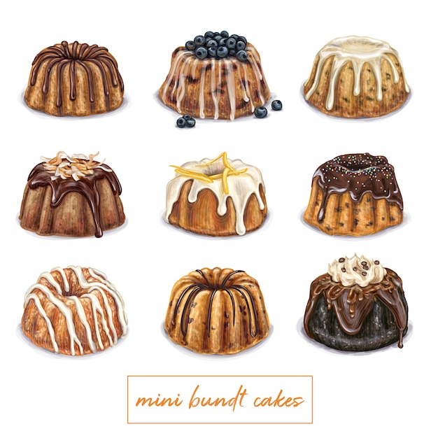 Mini bundt cake illustration Premium Vector