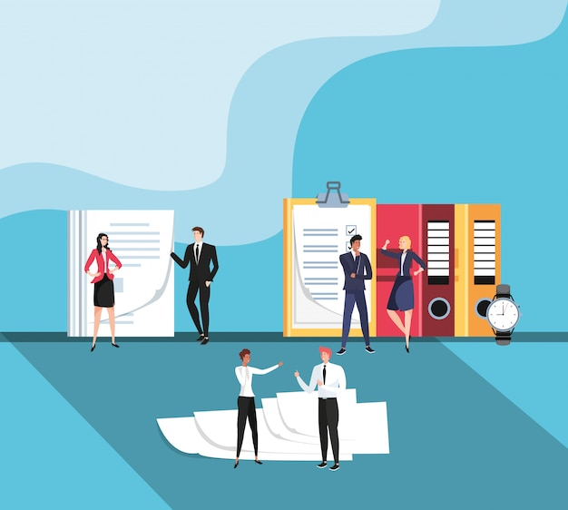 Mini business people with documents in the workplace Premium Vector
