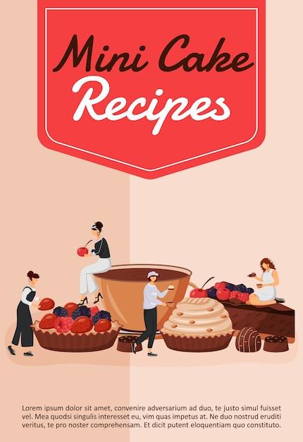 Мини-торт рецепты плакат плоский шаблон. шеф-повар готовит кондитерские изделия. кекс и пирог. фруктовый десерт. брошюра, буклет на одну страницу концептуального дизайна с героями мультфильмов. флаер кондитерской, листовка Premium векторы