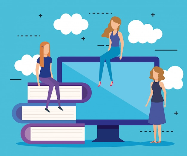 Mini people with computer and books Free Vector