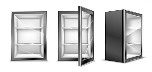 Mini refrigerator for beverages, empty gray fridge Free Vector