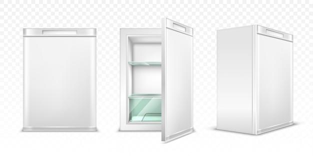 Mini refrigerator, empty white kitchen fridge Free Vector