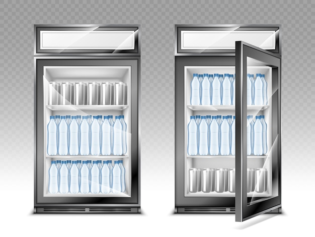 Mini refrigerator with water bottles and beverages, fridge with advertising digital display and transparent Free Vector