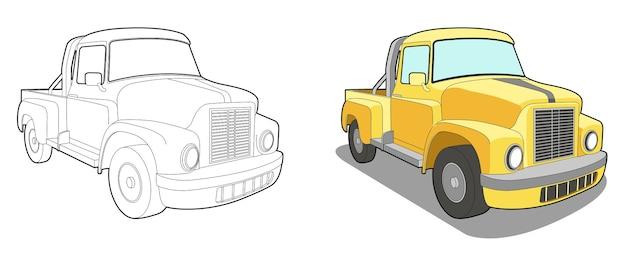 아이들을위한 미니 트럭 만화 색칠 공부 페이지 프리미엄 벡터