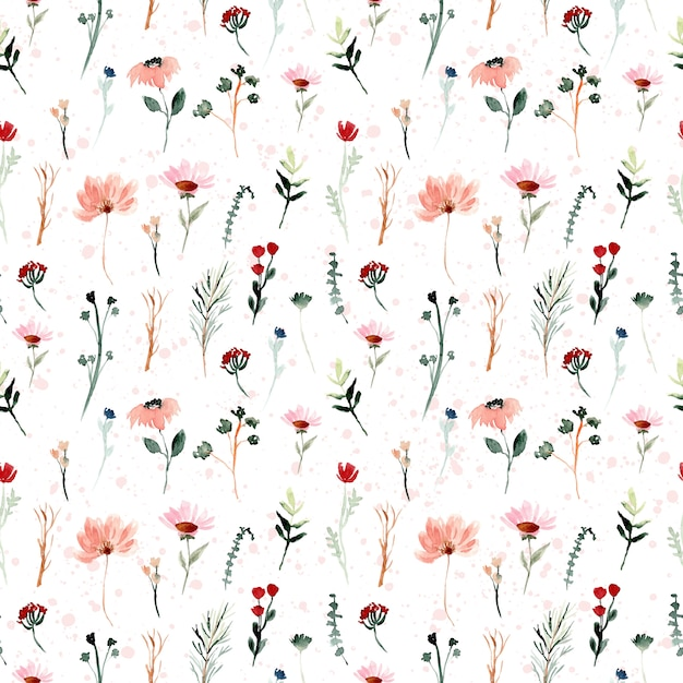 Mini wild floral watercolor seamless pattern Premium Vector