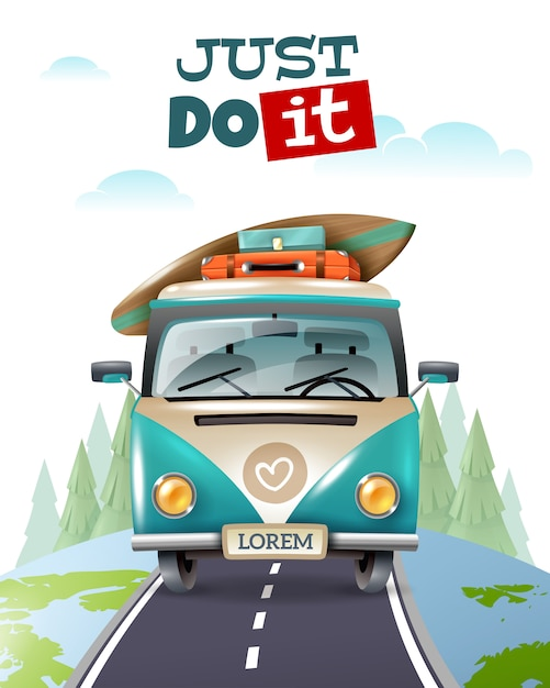 Minibus journey travel illustration Free Vector