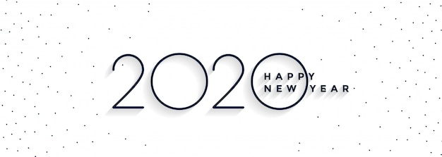 Minimal 2020 happy new year white banner Free Vector
