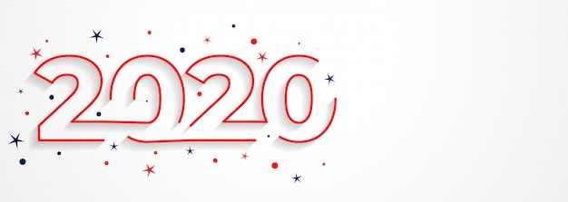 Minimal 2020 line style new year typography Free Vector