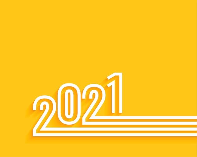 Minimal 2021 happy new year yellow background Free Vector