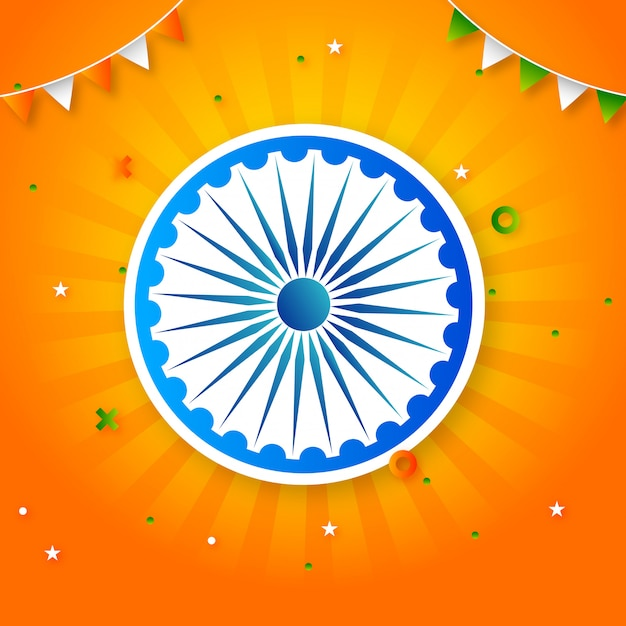 Minimal abstract indian republic day flag theme stylish template Premium Vector