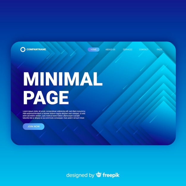 Minimal abstract landing page Free Vector