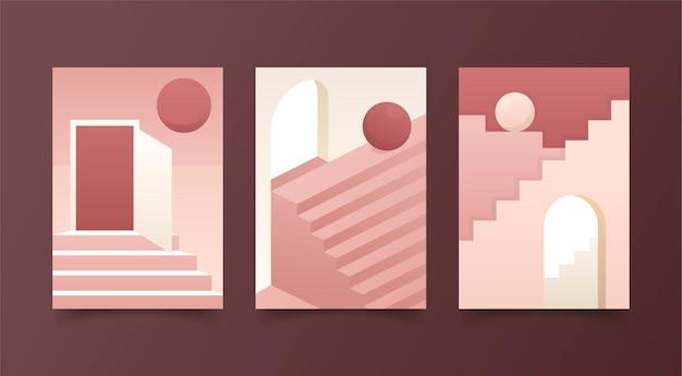 Collezione di copertine dall'architettura minimale Vettore gratuito