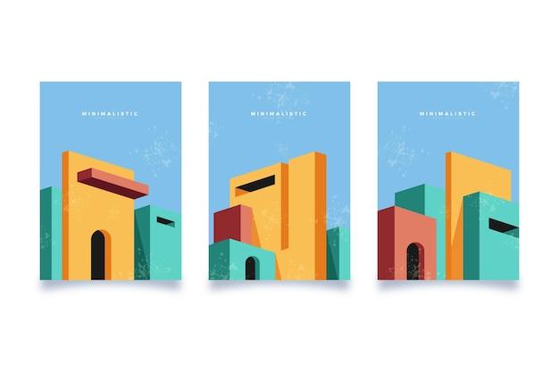 最小限の建築カバーコレクション 無料ベクター
