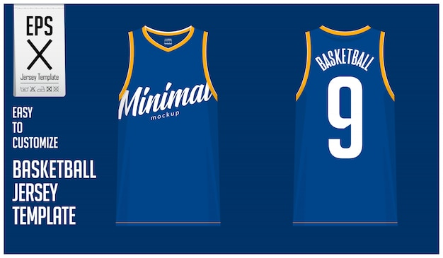 Minimal basketball jersey template design Premium Vector