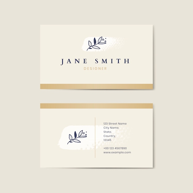 Minimal beige business card template vector Free Vector