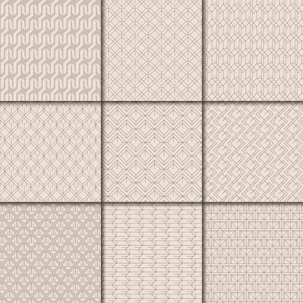 Minimal beige geometric pattern collection Free Vector