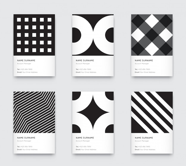 Minimal black and white graphic trendy vertical business cards set Premium Vector