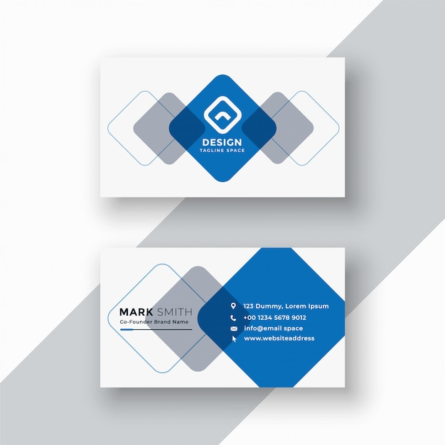 Minimal blue geometric business card Free Vector