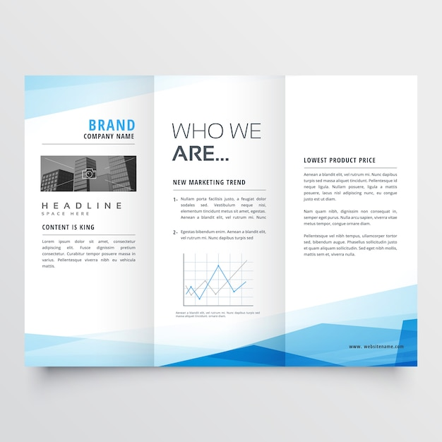 Minimal blue trifold brochure layout background Free Vector