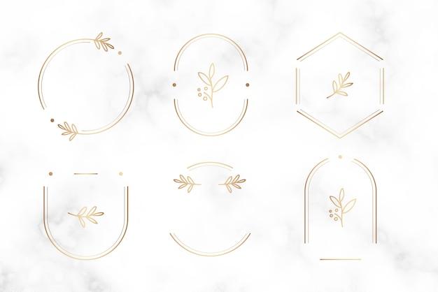 Minimal botanical badge design Free Vector