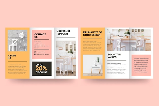 Minimal brochure template with front and back | Free Vector
