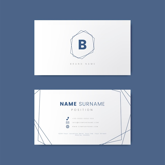 Minimal Business Card Design With Geometric Shapes Vector Free