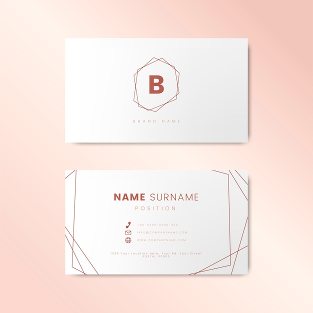 Minimal business card design with geometric shapes Free Vector