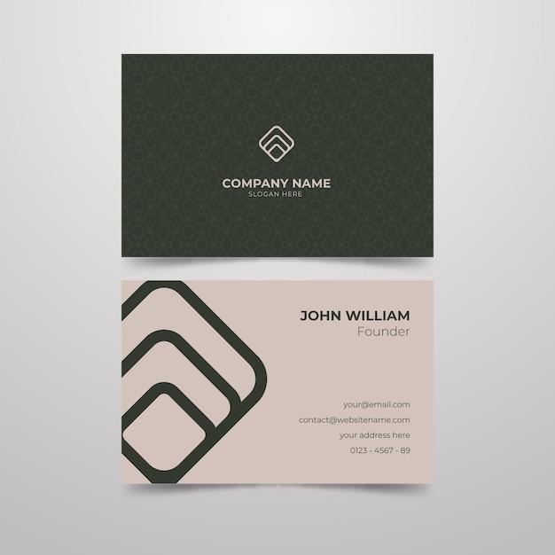 Minimal business card theme Free Vector