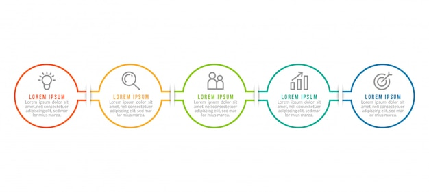 Minimal business infographics template with five steps Premium Vector