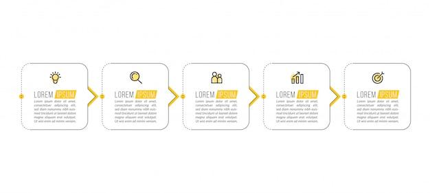 Минимальный шаблон бизнес инфографики с пятью шагами Premium векторы