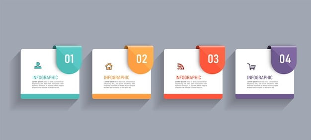Minimal business infographics template with four steps Premium Vector