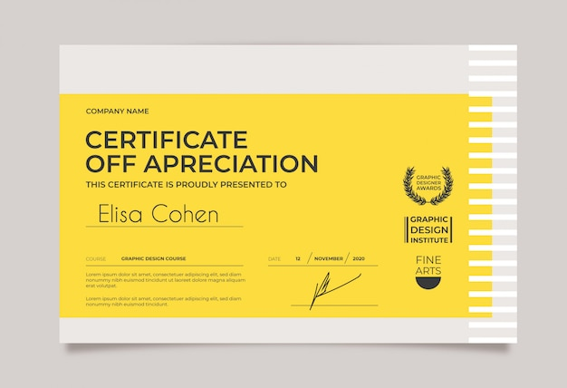 Minimal certificate template yellow and white Free Vector