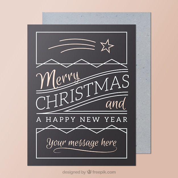 minimal christmas card vector premium download