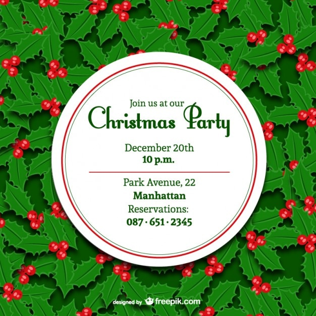 Minimal Christmas party invitation Vector – Christmas Party Invitations Free