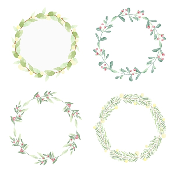 Minimal christmas watercolor leaf wreath frame collection Premium Vector