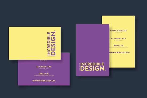 Minimal colorful business card template Free Vector
