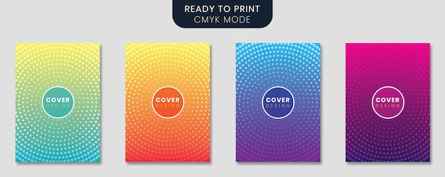 Minimal cover template set with gradient design and geometric lines Premium Vector