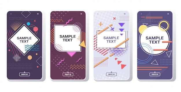 Minimal  cover templates for decoration presentation poster memphis style abstract background banners smartphone screens set online mobile app copy space horizontal Premium Vector