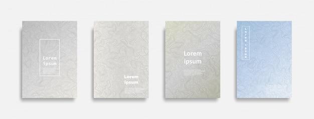 Minimal covers colorful contour lines Premium Vector
